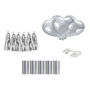 Car decoration kit for your wedding day with three silver heart foil balloons, one tassle garland and five silver cans with clear suction caps and fishing line included