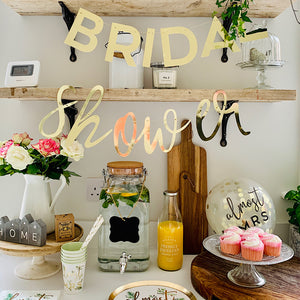 Gold Bridal shower mirror cut out letter garland