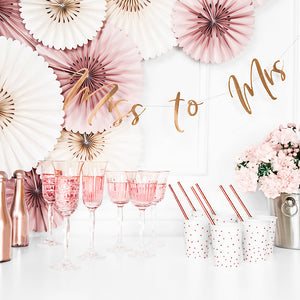 rose gold mirror paper card banner with the words miss to mrs, perfect for a bridal shower
