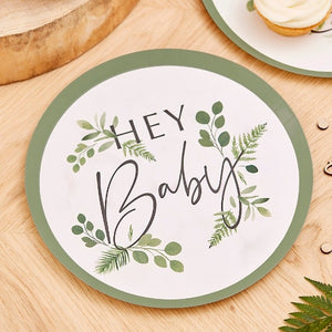 Hey baby printed words on plates with botanical motif and green trim on the outside of the plates, sets of 8