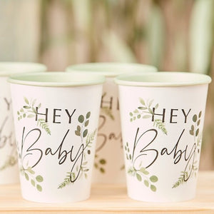 Botanical motif printed design on white cups with light green inside with the words hey baby written on the front, set of 8