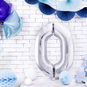 large silver number zero foil balloon, helium not included