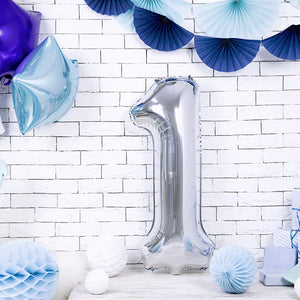 Large foil silver number one balloon