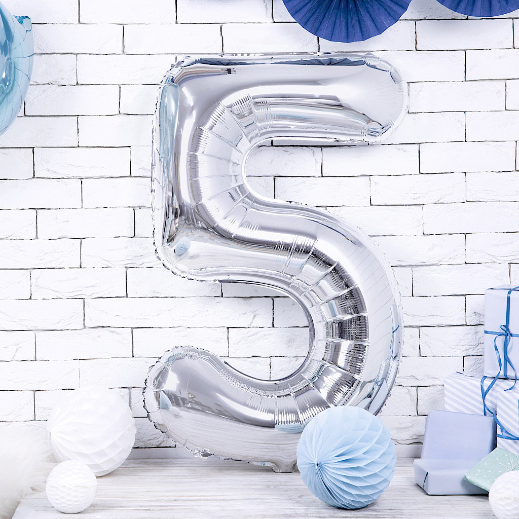 Large foil silver number five balloon