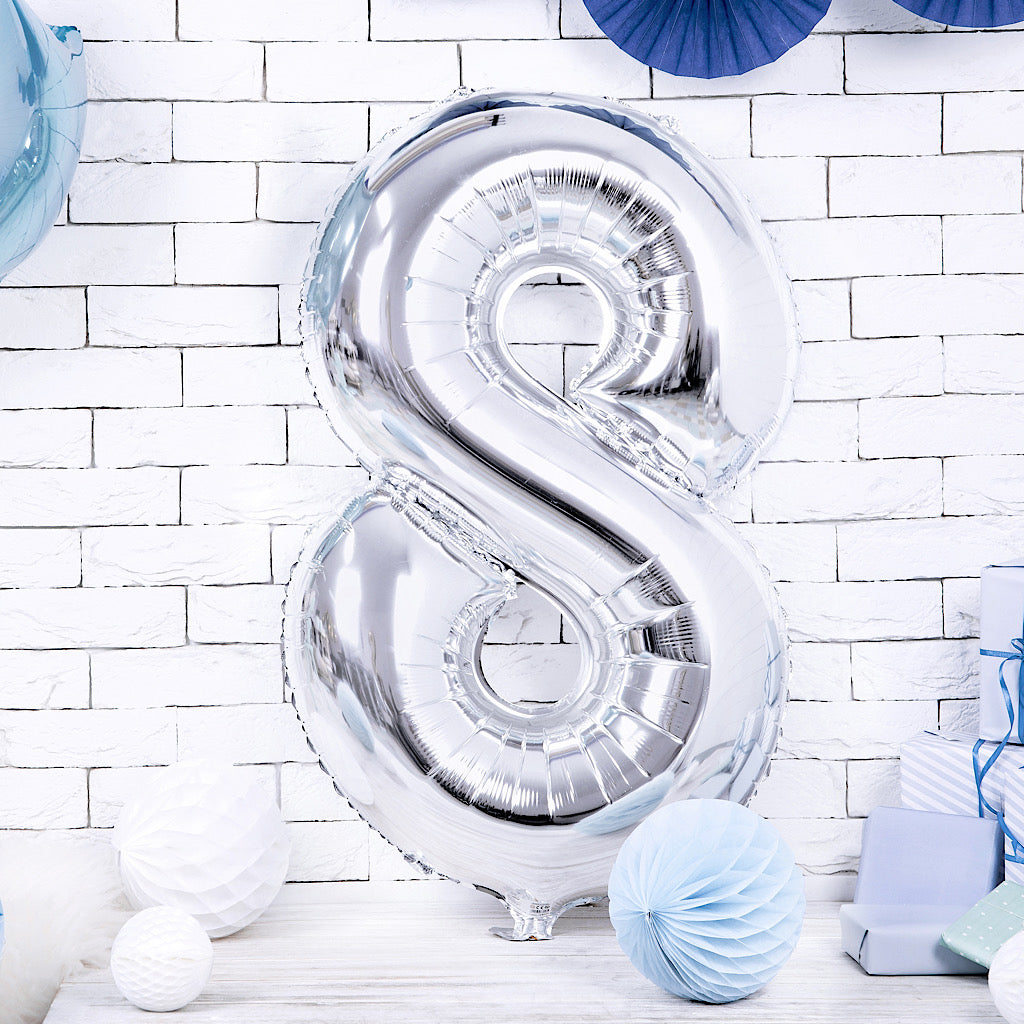Large foil silver number eight balloon