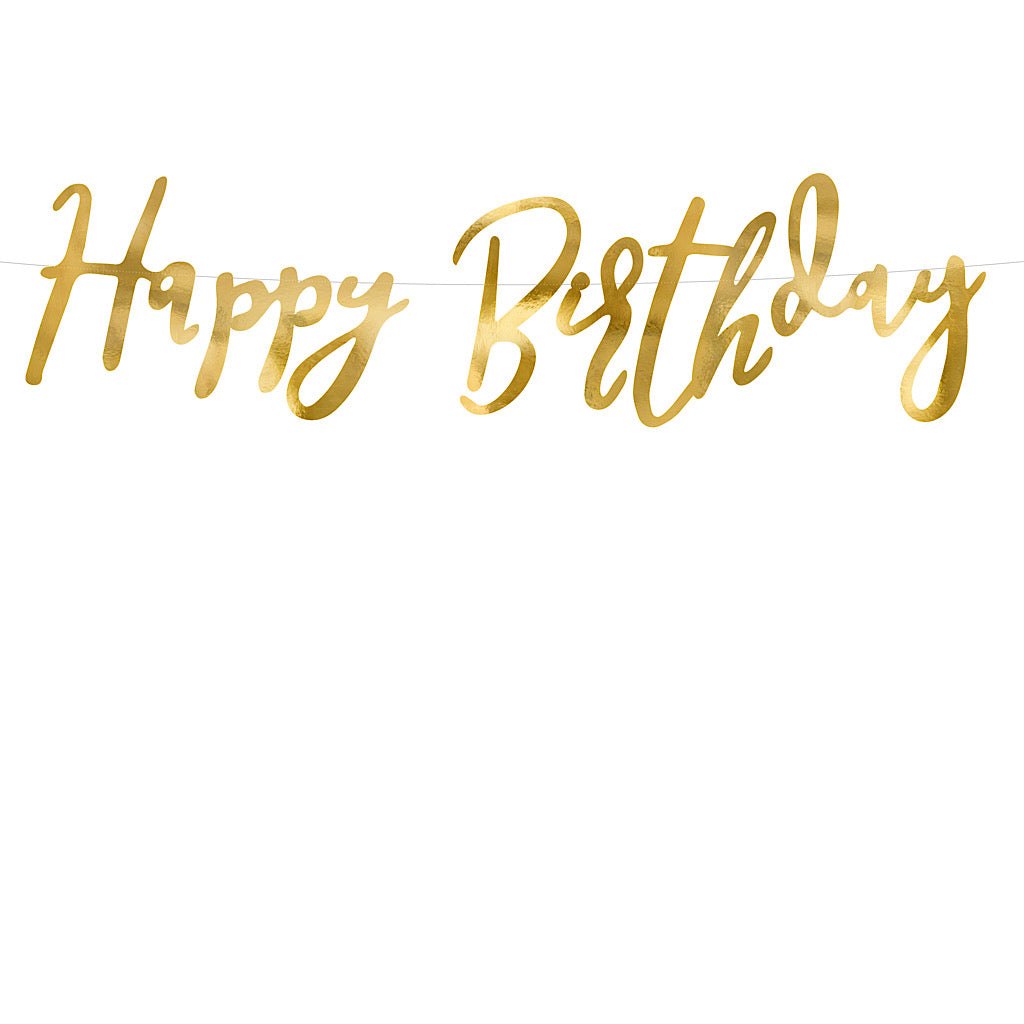 Gold happy birthday banner with the words cut out in paper mirror card
