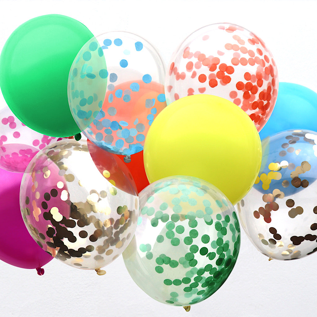 twelve assorted rainbow confetti filled balloons