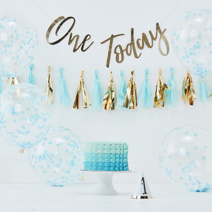 first birthday Cake smash decoration kit includes one today gold banner, blue and gold tassle garland, blue confetti balloons and a gold foil number 1 hat