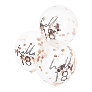 Hello 18 printed balloon filled with rose gold confetti