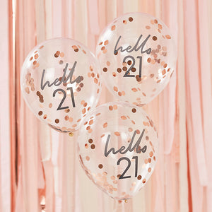Hello 21 printed balloon filled with rose gold confetti