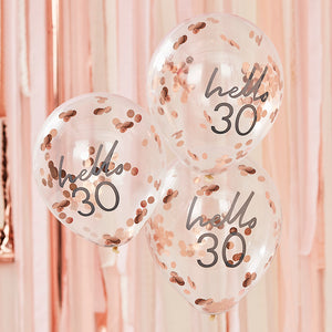 Hello 30 printed balloon filled with rose gold confetti