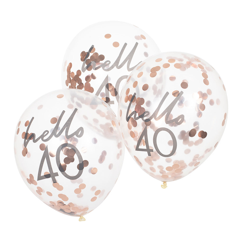 Hello 40 printed balloon filled with rose gold confetti