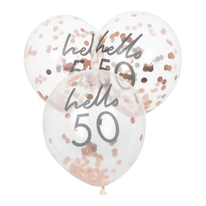 Hello 50 printed balloon filled with rose gold confetti