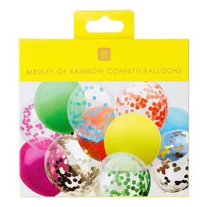 12 assorted rainbow balloons with confetti