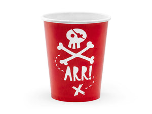 red paper cups with white illustration of skull and bones and the word arrPirate themed birthday party for girls and boys party or birthday parties from la di dah