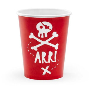 Red and white pirate themed party cups.