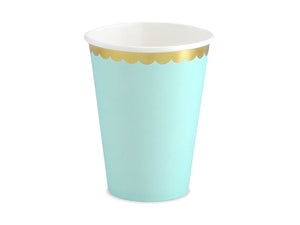 La di dah London pastel party, pale blue cups with gold rim. Perfect party cup for a birthday party celebration.