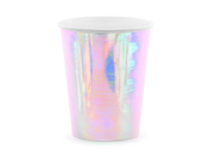 Iridescent paper party cups for mermaid themed birthday party for girls and boys party or birthday parties