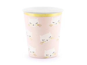 Pink, white and gold paper cat themed cup for girl and boys children's birthday party.