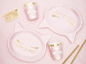 Pink cat plates and cups with gold cat illustration. Children's birthday party decorations. Girls cat party.