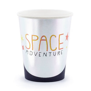 Silver paper party cups space themed.