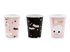 Pink skeleton and Bat Halloween cups