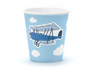 party cups in light blue and white with vintage aeroplane illustration with white clouds for aeroplane themed birthday party for girls and boys party or birthday parties from la di dah