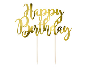 La di dah london gold happy birthday cake topper.