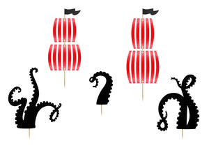 red and white sail cake toppers with black cut out octopus legs for Pirate themed birthday party for girls and boys party or birthday parties from la di dah