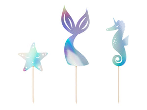 iridescent star, mermaid tail and seahorse cake toppers for mermaid themed birthday party for girls and boys party or birthday parties from la di dah