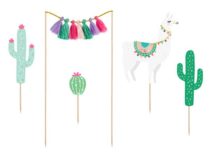Mint, green, purple, pink and gold llama party cake toppers. Cactus, llama and tassel cake toppers for a boho birthday, baby shower or celebration.