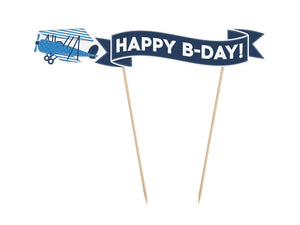 vintage aeroplane happy b day banner cake topper in blue and white for aeroplane themed birthday party for girls and boys party or birthday parties from la di dah