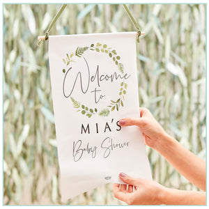 personalised botanical baby shower sign with stickers to create your own message and ribbon to hang your sign