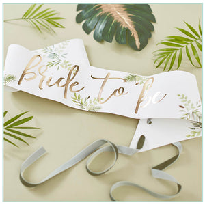 Bride to be white sash and gold foil writing with botanical green motif and green velvet ribbon