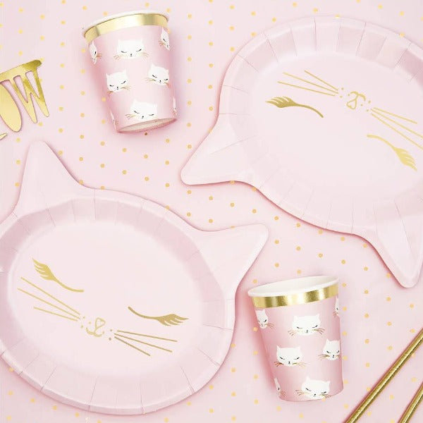 Pink cat shaped paper plate with gold foil detail.