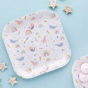 Rainbow and unicorn square paper plates