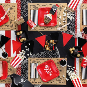 Red and white square pirate themed paper plates. Red and white pirate themed party paper cups.