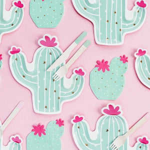 Cactus shaped mint green plates with gold detail and pink flowers.