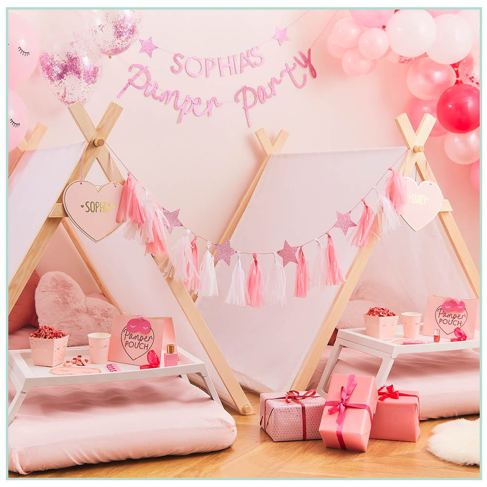 Pink sparkly customisable pamper party bunting.