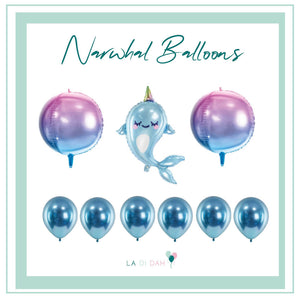 one Narwhal helium foil balloon bundle with two ombre purple and blue round foil helium balloons  with six blue glossy latex balloons