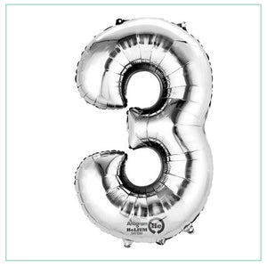 Small Silver number 3 balloon