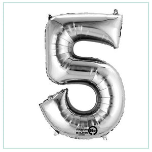 Small Silver number 5 balloon