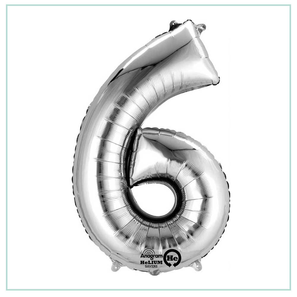 Small Silver number 6 balloon