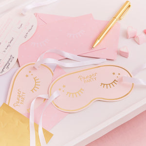 Pamper party eye mask design invitations