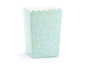 Llama party popcorn box in mint with gold details for a children's birthday or celebration.