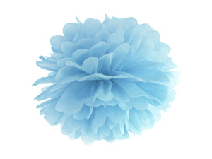 Blue tissue pom pom decoration for mermaid themed birthday party for girls and boys party or birthday parties from la di dah