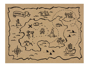 rectangle treasure map place mats in brown with black illustration for Pirate themed birthday party for girls and boys party or birthday parties from la di dah