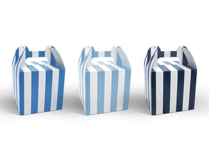 Square striped party boxes in white and blue for aeroplane themed birthday party for girls and boys party or birthday parties from la di dah