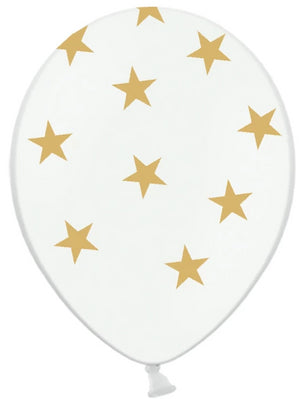 Clear balloon with gold star pattern. Girls and boys kids cat themed birthday party