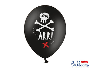 Black balloons with white illustration of skull and bones and the word arr with a red cross for Pirate themed birthday party for girls and boys party or birthday parties from la di dah
